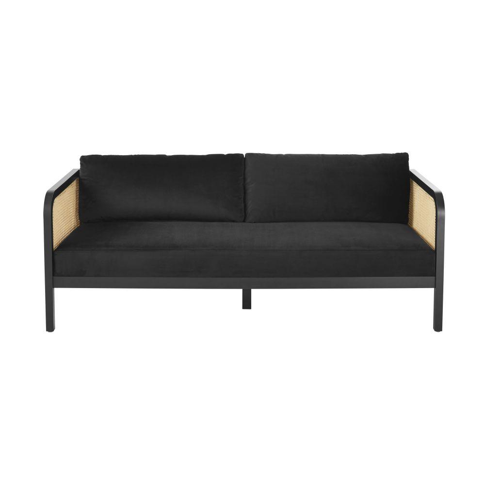 3-Sitzer-Sofa mit schwarzem Samtbezug Geronimo