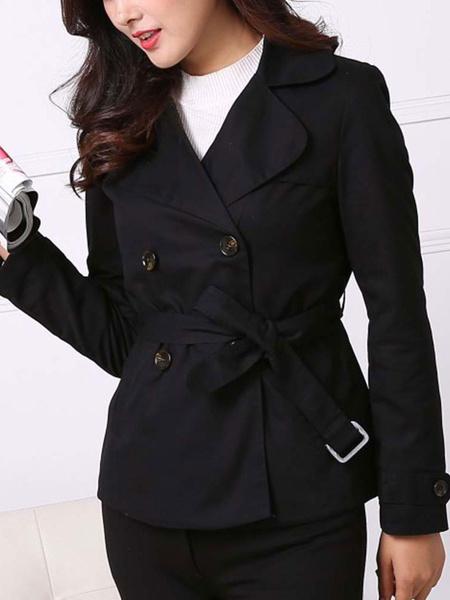 Milanoo Women Jacket Buttons Polyester Long Sleeve Casual Winter Coats