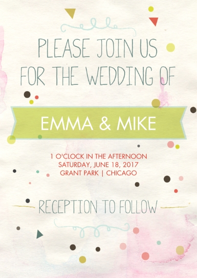 Wedding Invitations Flat Matte Photo Paper Cards with Envelopes, 5x7, Card & Stationery -Confetti Wedding Invite