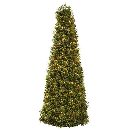 Nearly Natural 39in Boxwood Cone With Lights Christmas Tree, One Size , Green