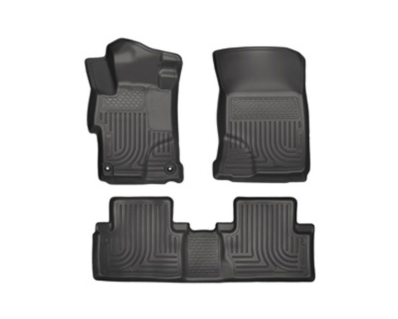 Husky Floor Liners Front & 2nd Row 14-15 Honda Civic (Footwell Coverage) WeatherBeater-Black