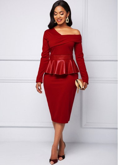 Cocktail Party Dress Flounce Leather Stitching Long Sleeve Dress - M