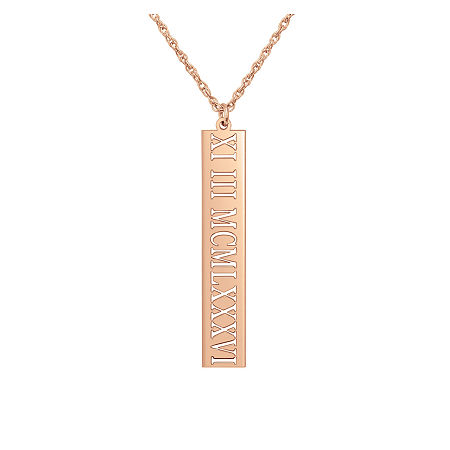Personalized Roman Numeral Date Pendant, One Size , Pink