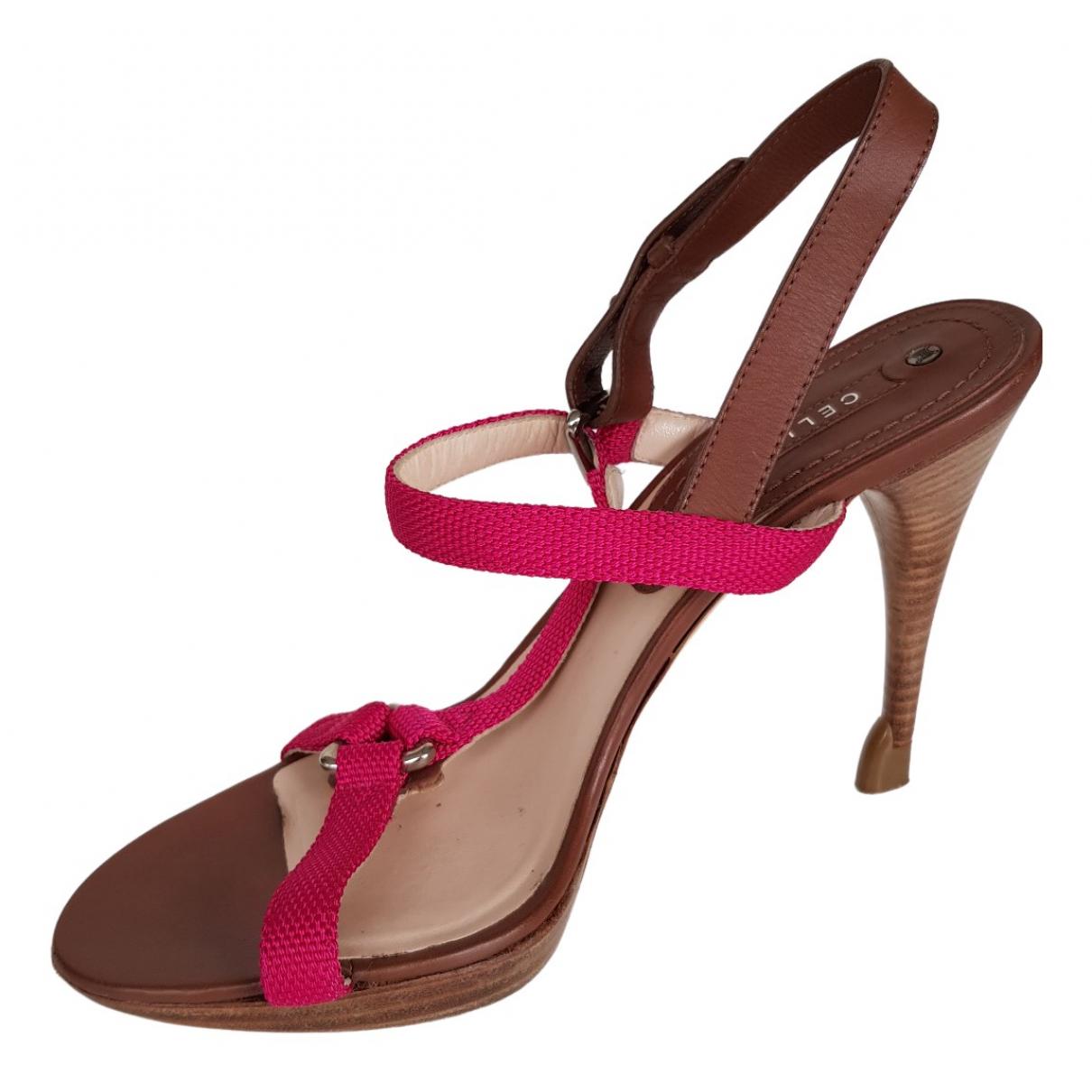 Celine \N Pink Cloth Sandals for Women 37.5 EU