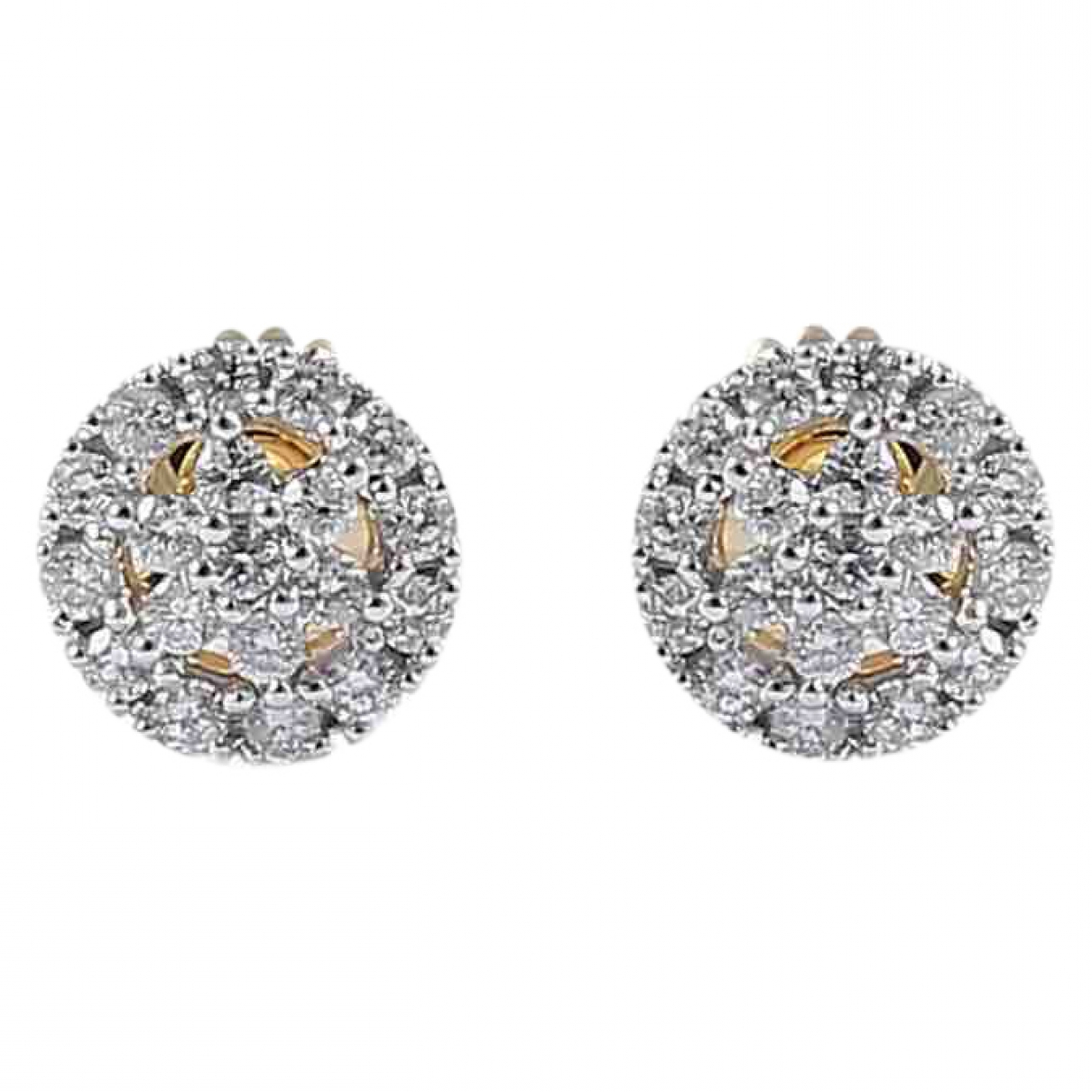 Non Signé / Unsigned Motifs Floraux Gold Yellow gold Earrings for Women \N