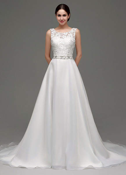 Milanoo Tulle A-line Lace Bodice Chapel Train Wedding Dress With Rhinestone Sash