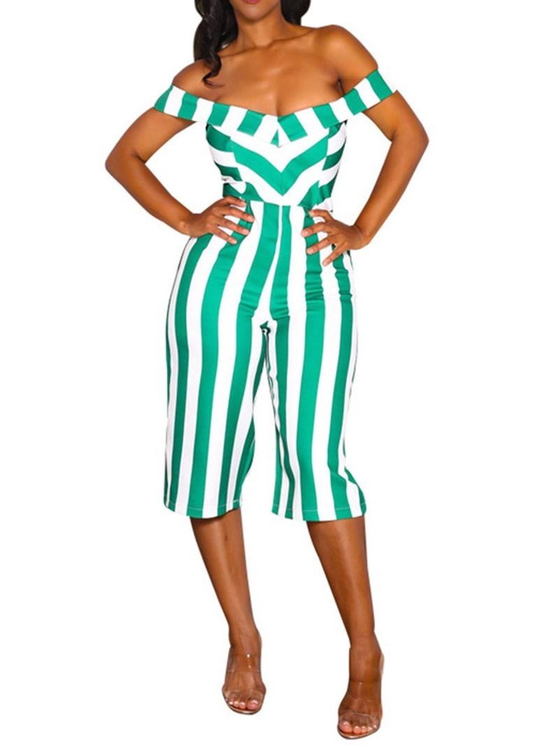 Ericdress Stripe Travel Look Mid-Calf Straight High Waist Jumpsuit