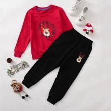 Toddler Boys Christmas Deer Print Sweatshirt & Sweatpants