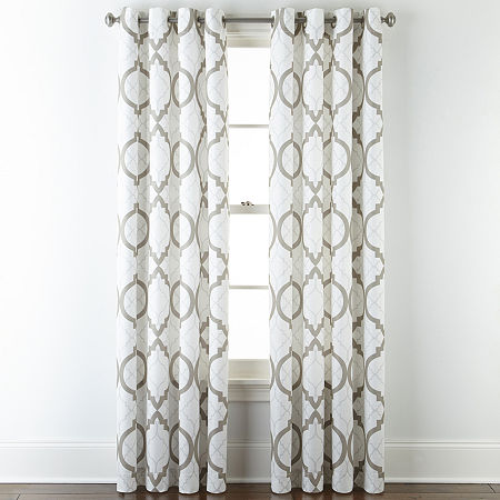 Liz Claiborne Quinn Geo Light-Filtering Grommet-Top Single Curtain Panel, One Size , White