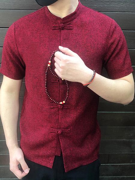 Yoins INCERUN Men Vintage Stand Collar Short Sleeve Shirt