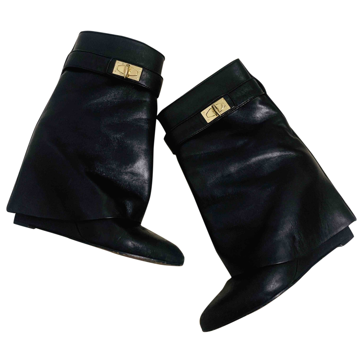 Givenchy Shark Black Leather Ankle boots for Women 37 EU