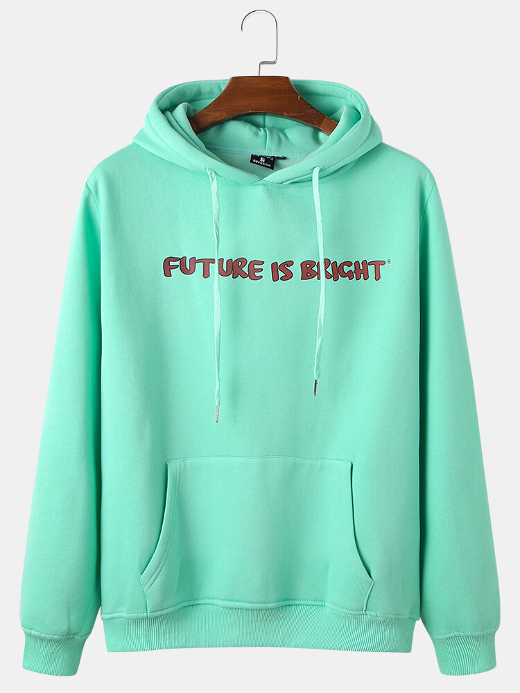 Mens 100% Cotton Slogan Chest Print Plus Velvet Light Pullover Hoodie