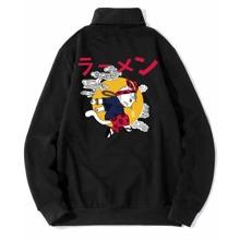 Sweatshirt mit japanischen Schriften & Karikatur Grafik