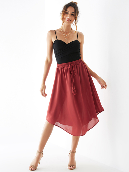 YOINS Rust Drawstring Waist Tassel Details Irregular Hem Skirt