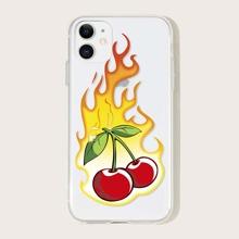 1 pieza funda de iphone con estampado de cereza