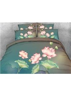 3D Pink Lotus Printed Cotton 4-Piece Blue Bedding Sets/Duvet Covers