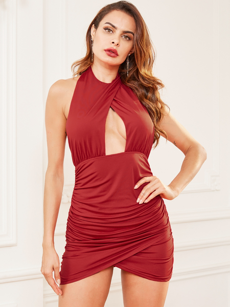 YOINS Red Backless Design Halter Dress