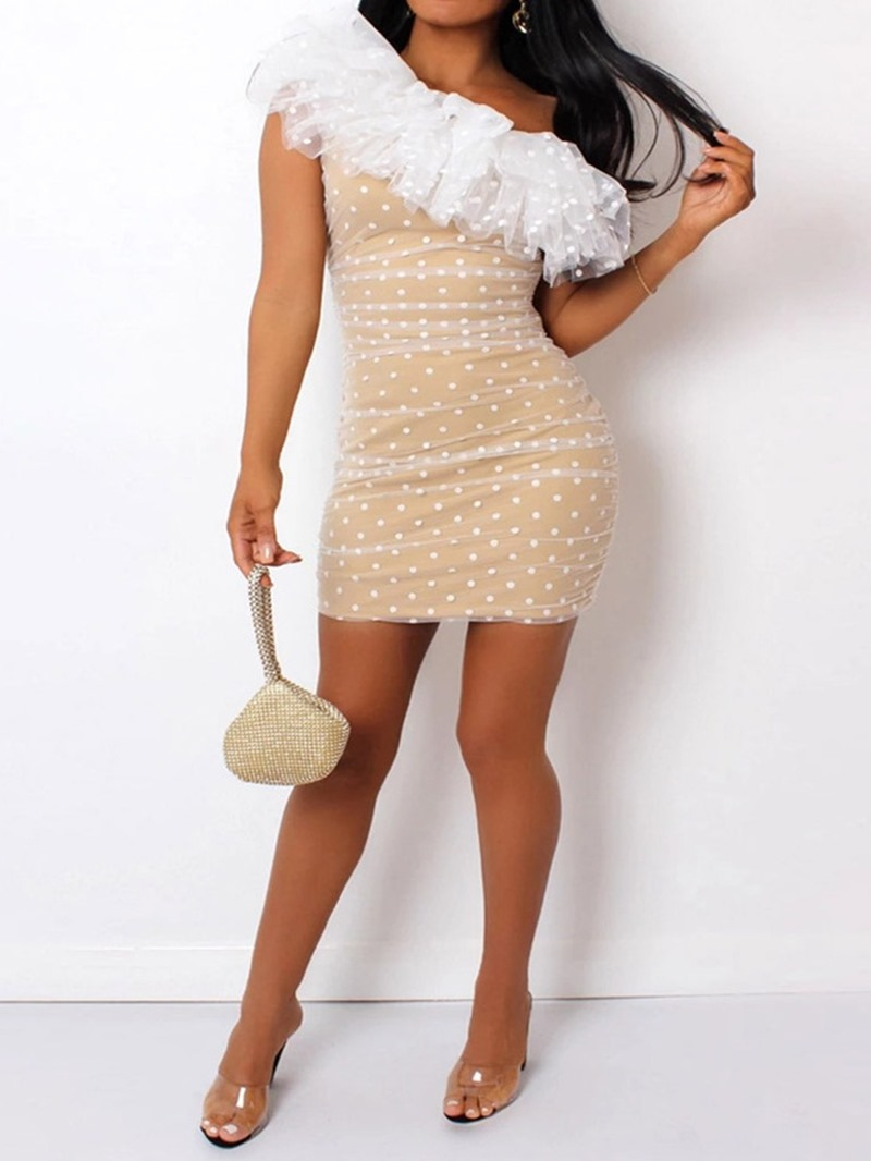 Ericdress Oblique Collar Cap Sleeve Mesh Pullover Sweet Dress