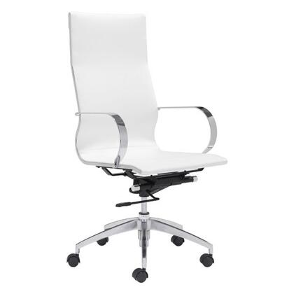 248823 Office Chair with Chrome Armrest  Lumbar Support  Casters  Adjustable Seat Height  Aluminum Frame and Leatherette Upholstery in White