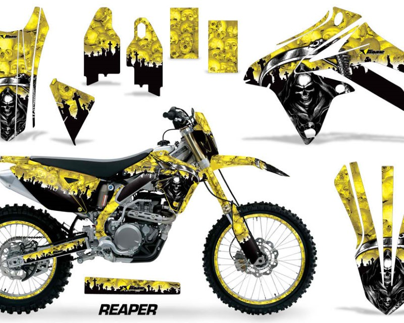 AMR Racing Graphics MX-NP-SUZ-RMX450Z-09-17-RP Y Kit Decal Sticker Wrap + # Plates For Suzuki RMX450Z 2009-2017áREAPER YELLOW