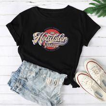 T-Shirt mit Buhstaben & Grafik Muster und rundem Kragen