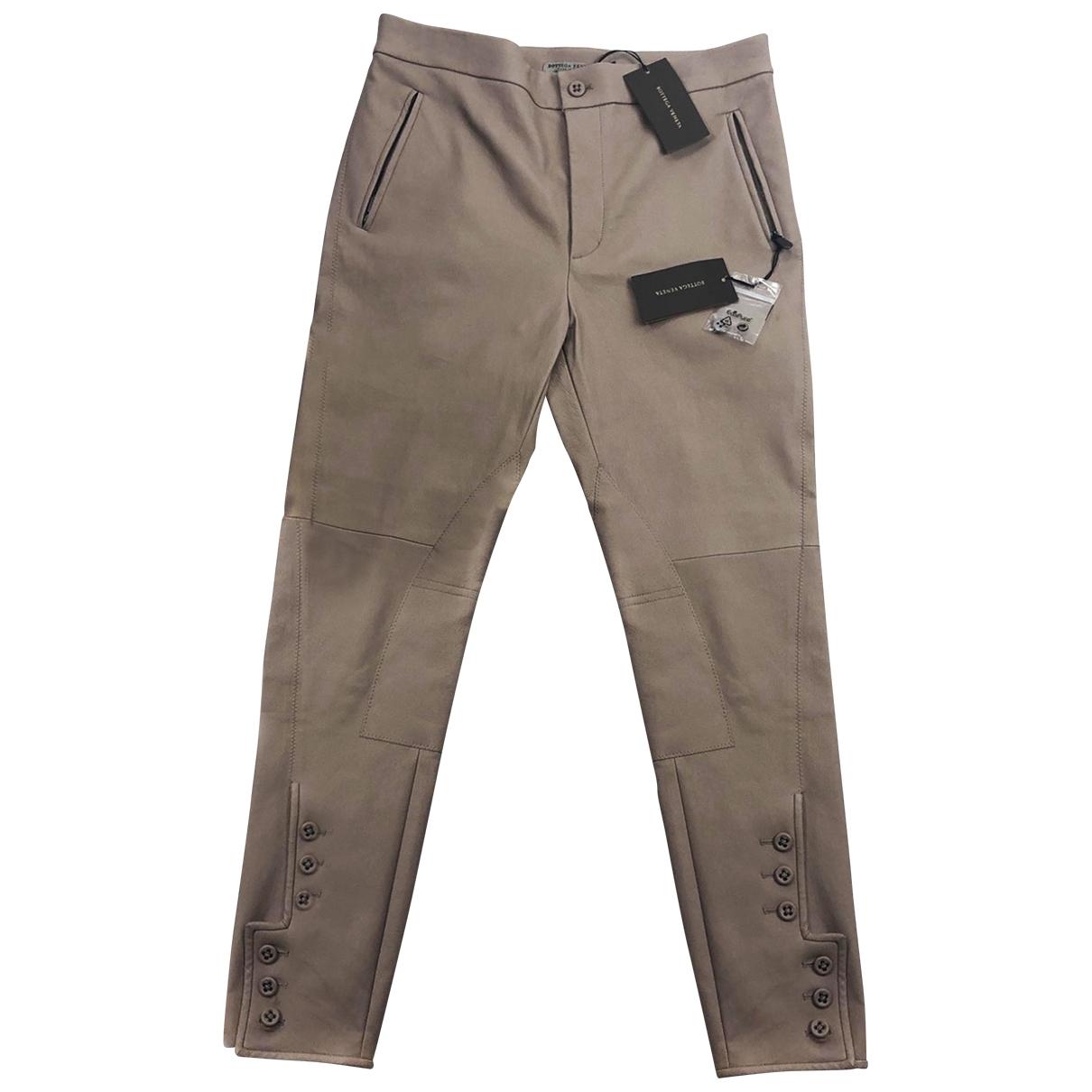 Bottega Veneta \N Beige Leather Trousers for Women 42 IT