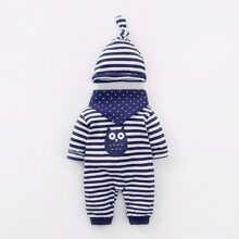 Baby Boy Striped Cartoon Graphic Jumpsuit & Hat