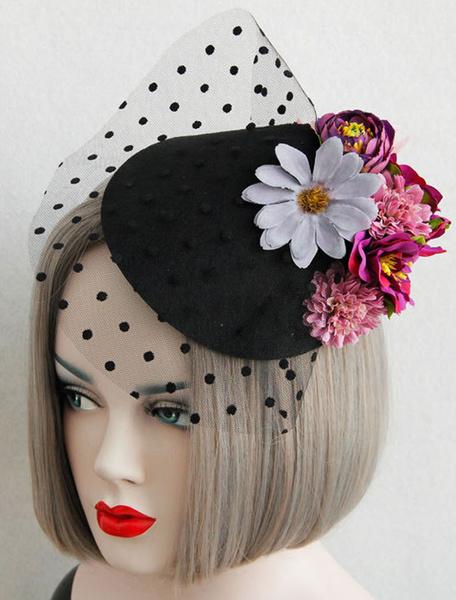 Milanoo Flor Fascinator sombreros sombreros de boda negra de Tul