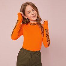 Girls Neon Orange Letter Graphic Tee