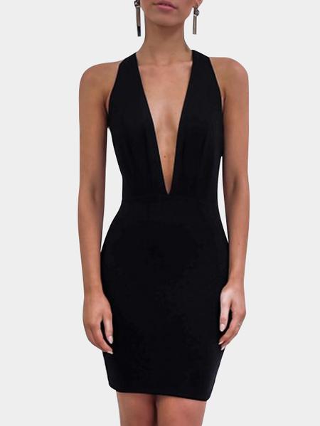 Yoins Black Halter Deep V Neck Backless Mini Dresses