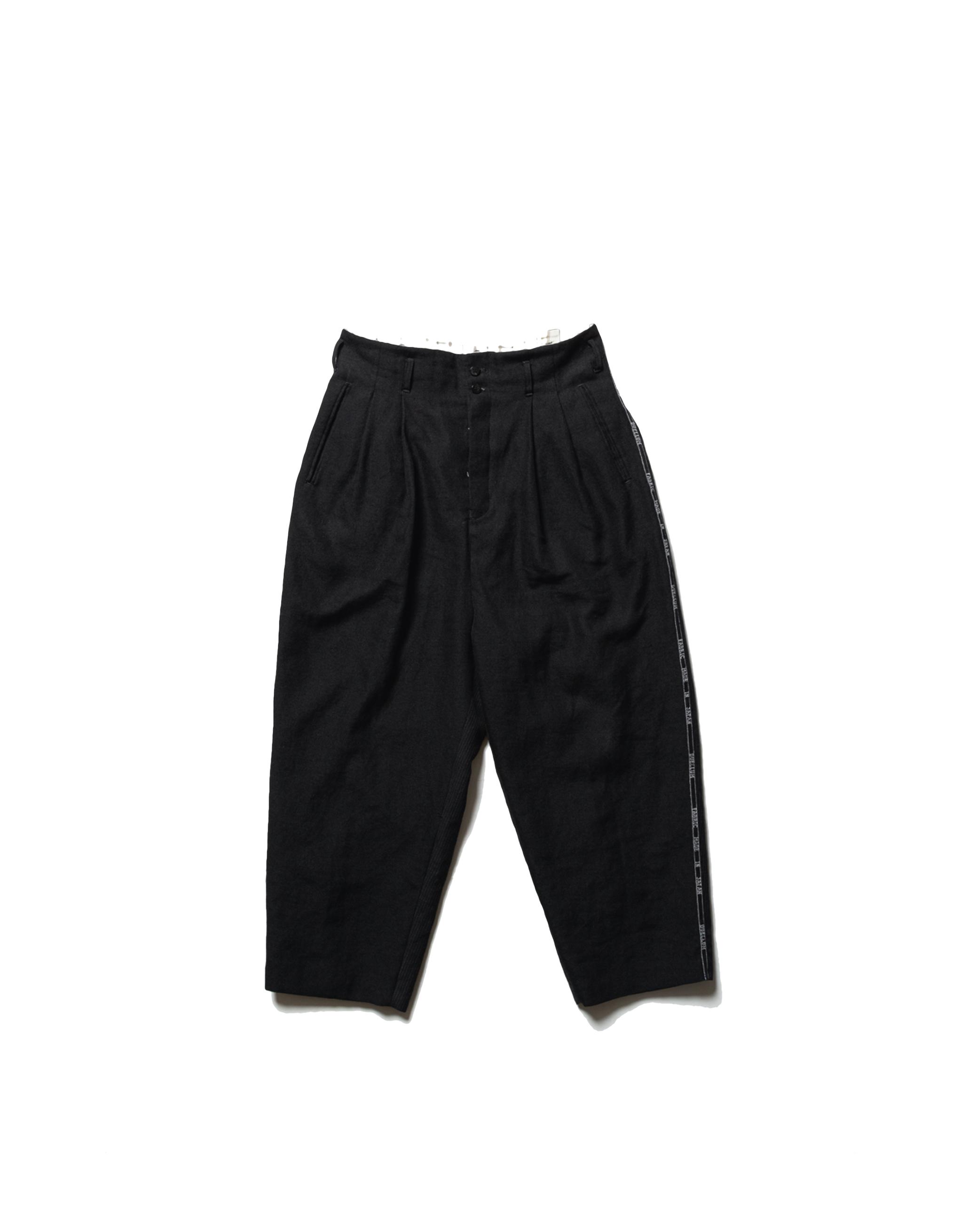 DUELLUM Wool & Linen Black Trousers