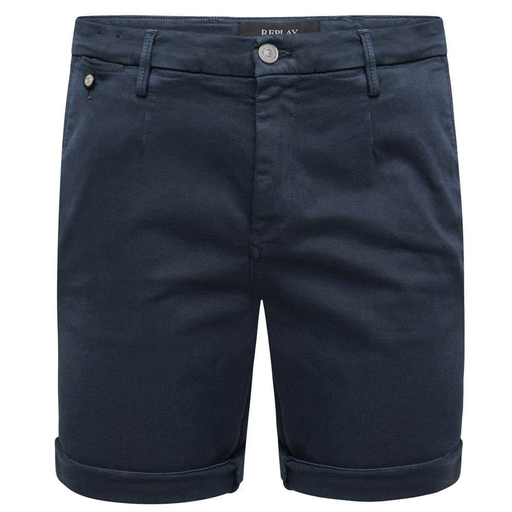 Replay Chino Hyperflex Shorts Colour: NAVY, Size: 32