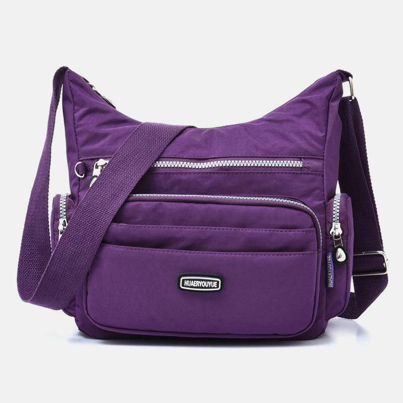 Women Waterproof Multi-pocket Solid Casual Crossbody Bag