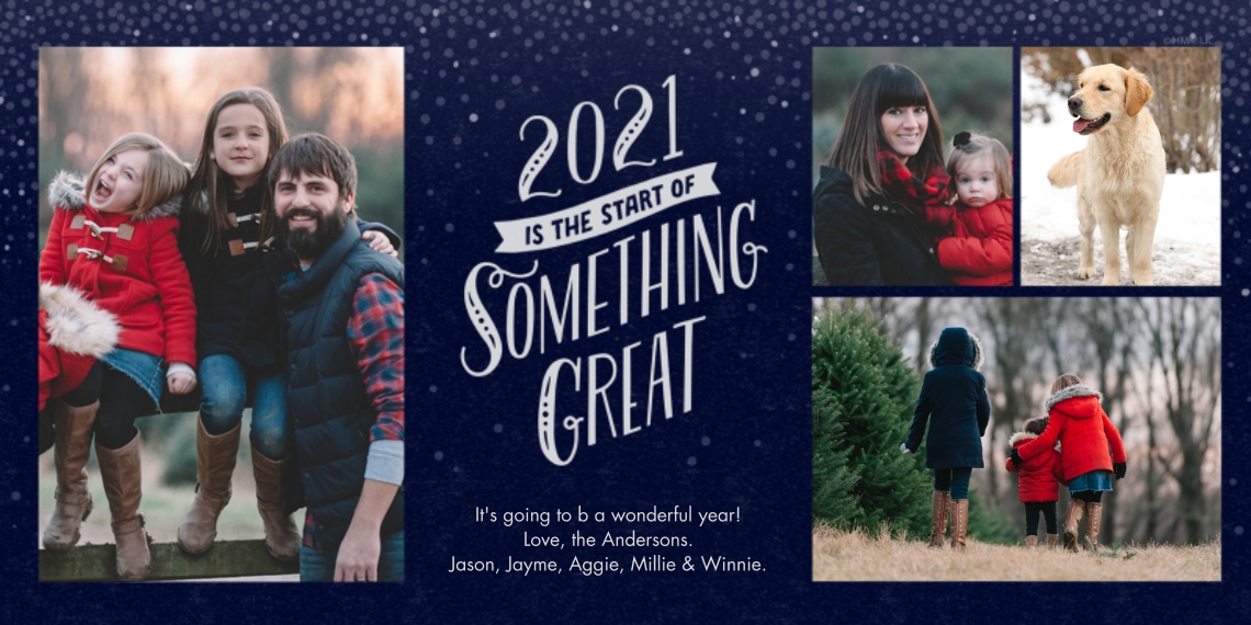 New Year's Photo Cards Flat Matte Photo Paper Cards with Envelopes, 4x8, Card & Stationery -Start of Something Great 2021 Photo Collage by Hallmark