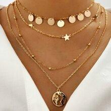 Mehrschichtige Halskette mit Stern Dekor