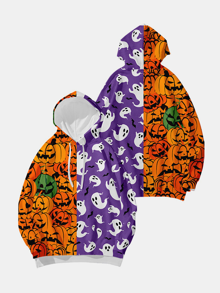 Cartoon Print Drawstring Plus Size Hoodie for Women