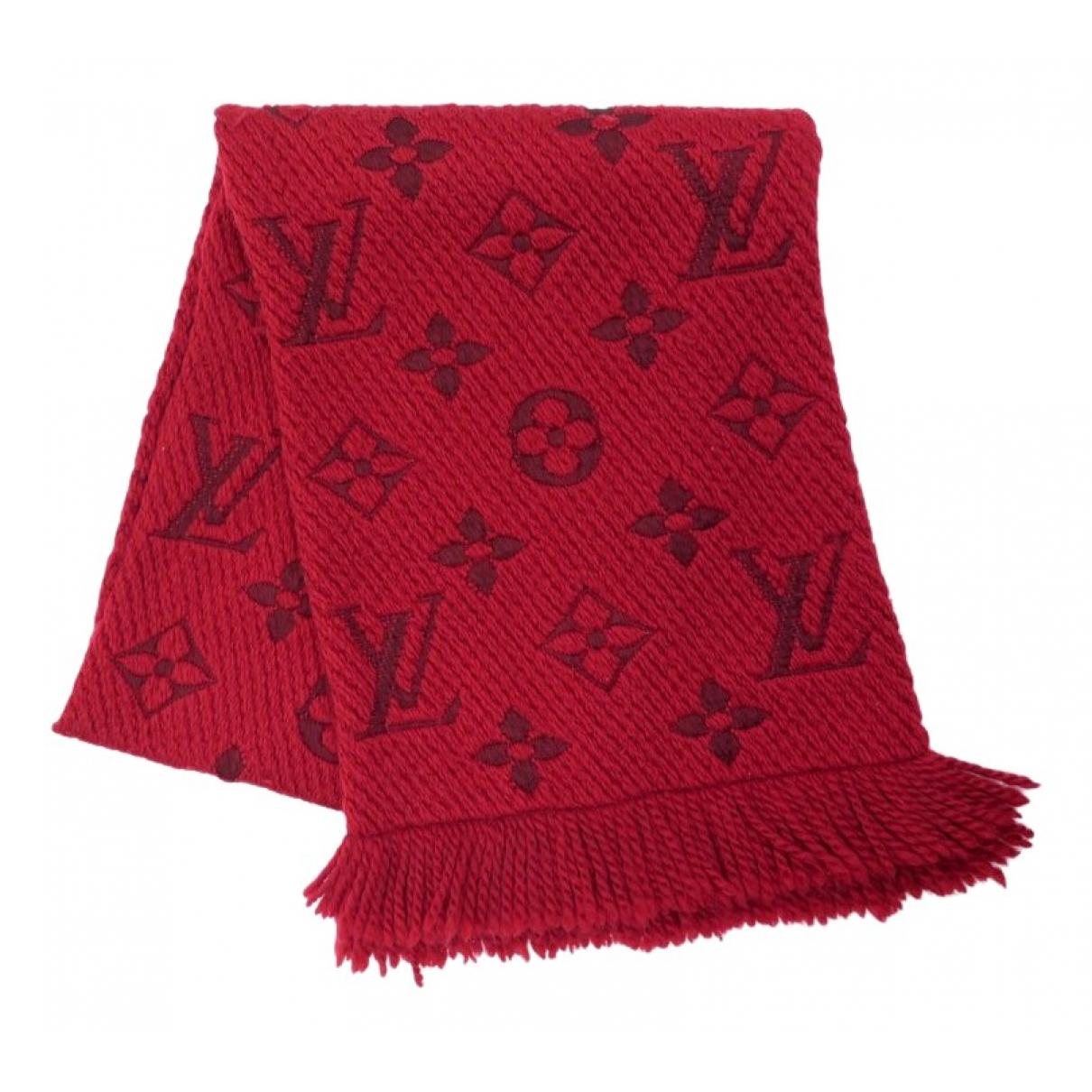 Louis Vuitton - Foulard Logomania pour femme en laine - rouge