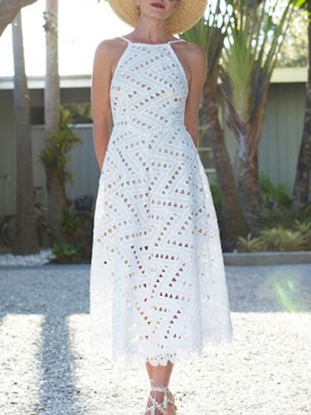 Milanoo Vestidos largos blancos Vestido largo sin espalda sin mangas con cuello de tirantes para mujer