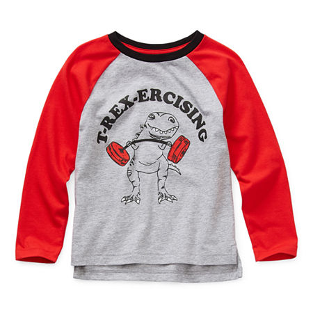 Okie Dokie Toddler Boys Crew Neck Long Sleeve Graphic T-Shirt, 5t , Gray