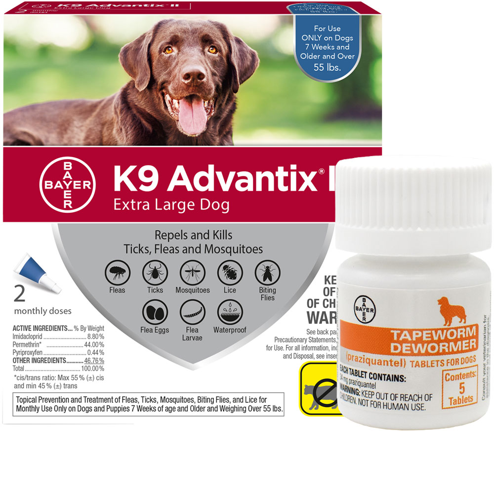 2 MONTH K9 Advantix II BLUE for Extra Large Dogs (over 55 lbs) + Tapeworm Dewormer for Dogs (5 Tablets)
