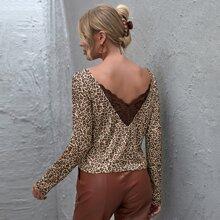 Camiseta de leopardo ribete con encaje