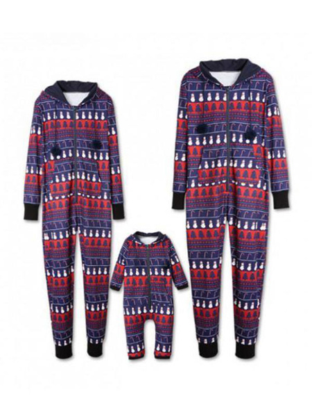 Milanoo Family Christmas Pajamas Matching Father Purple Printed Jumpsuits For Men