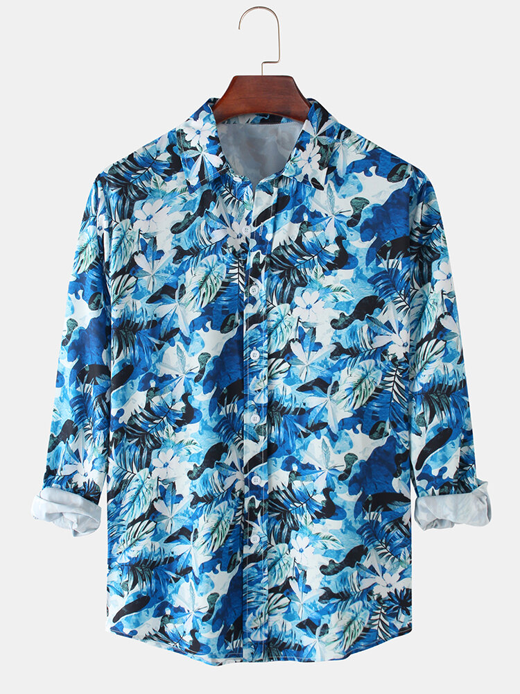 Mens All Over Plant Leaf Printed Light Casual Long Sleeve Shirts