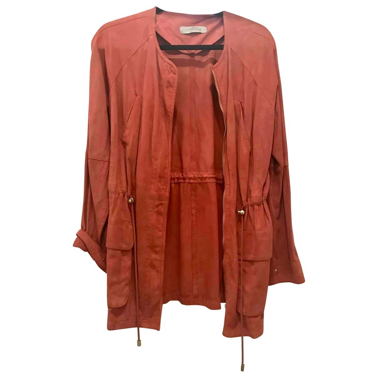 Uterque - Veste   pour femme en cuir - orange