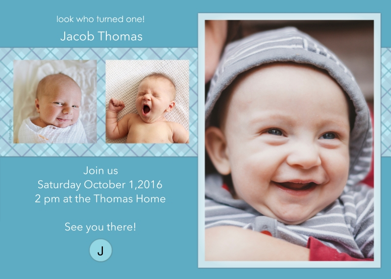 1st Birthday Invitations Mail-for-Me Premium 5x7 Folded Card , Card & Stationery -Blue Monogram