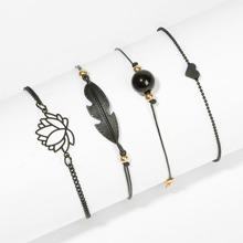 Lotus & Feder Armband Set 4pcs