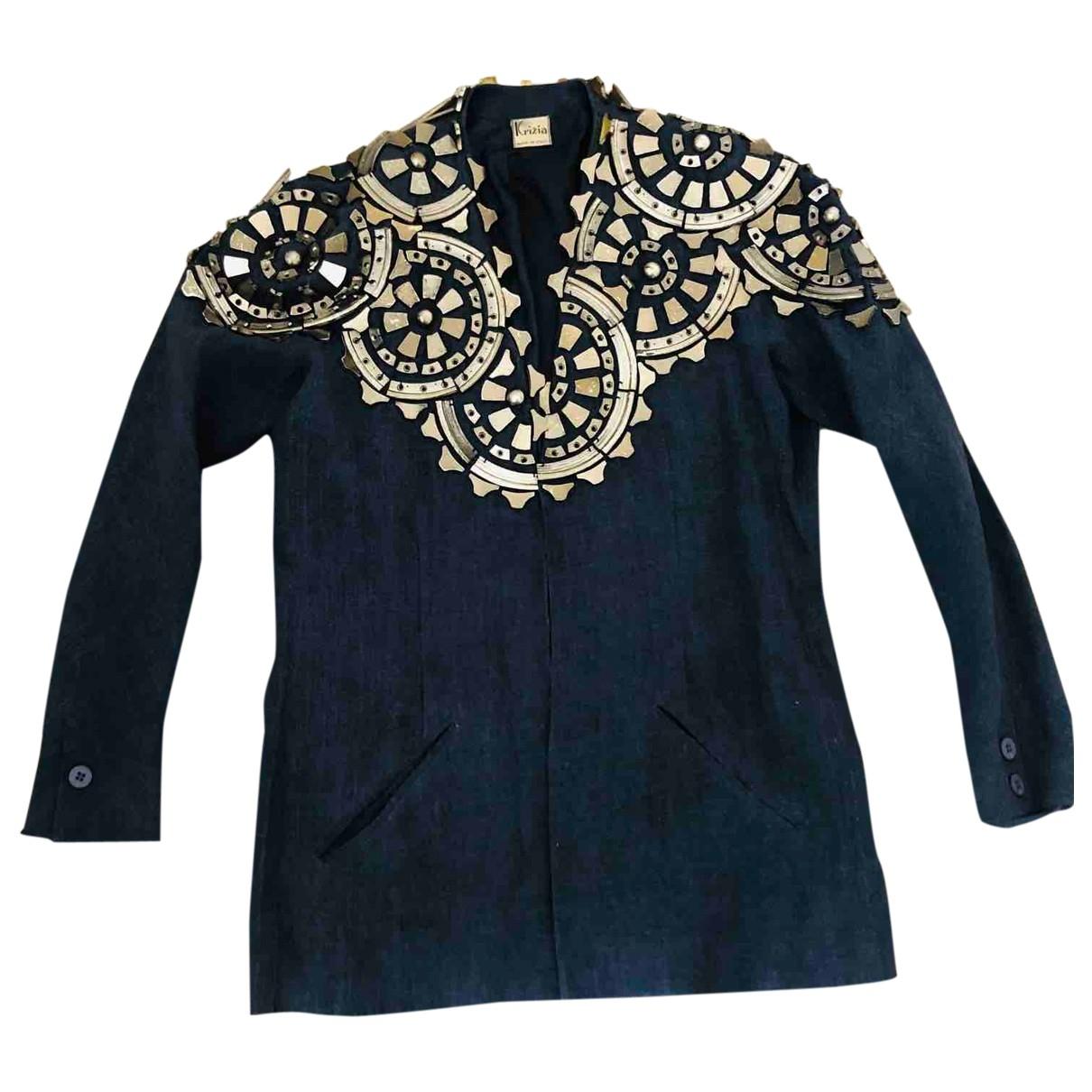 Krizia - Veste   pour femme en lin - bleu