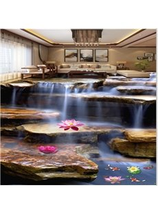 Natural Stream and Lotus Pattern Nonslip and Waterproof Splicing 3D Floor Murals