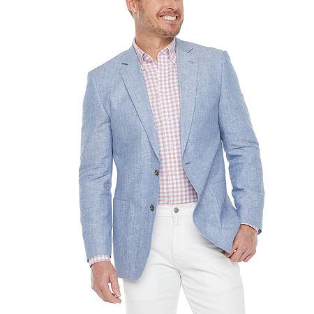 Stafford Linen Cotton Mens Classic Fit Sport Coat, 42 Regular, Blue