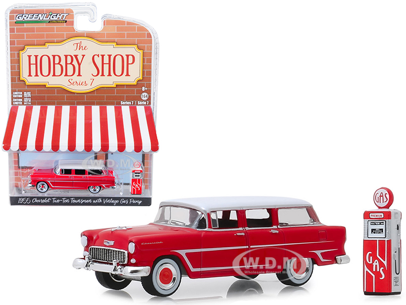 1955 Chevrolet Two-Ten Townsman Red with Vintage Gas Pump